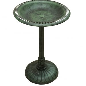 XBrand Green Painted Flower Design Birdbath (BB3363GN)