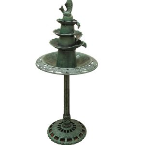 XBrand Green Painted Fish Design Birdbath (BB3387GN)