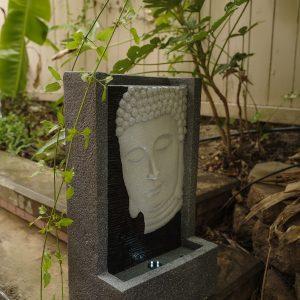 XBrand Grey Buddha Face Water Fountain (BDFTN2314)