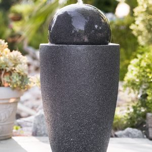 XBrand Black Round Sphere Water Fountain (GE2612FTBK)