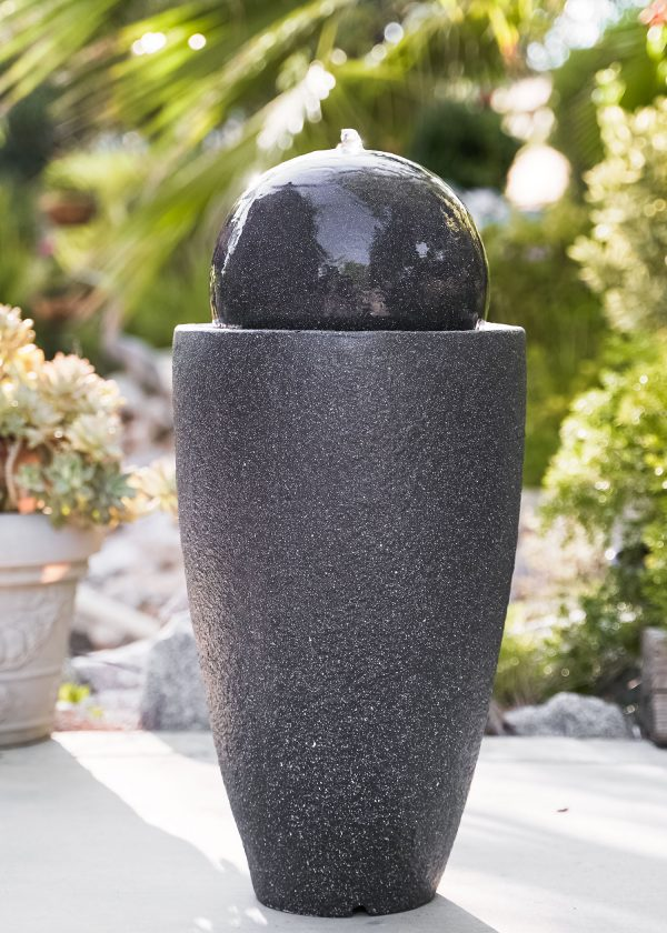 XBrand Black Round Sphere Water Fountain (GE2612FTBK)