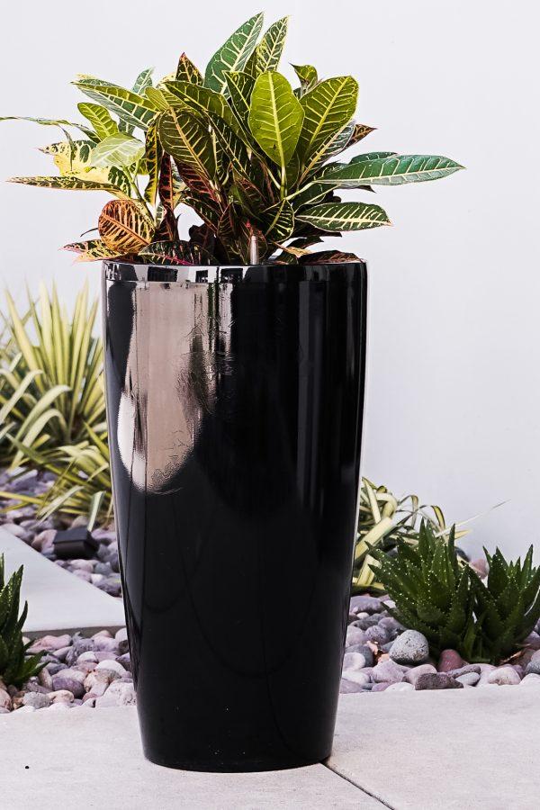 XBrand Black Diamond Look Round Planter (PL3554BK)