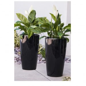 XBrand Black Round Tall Planter Pot (PL3448BK)
