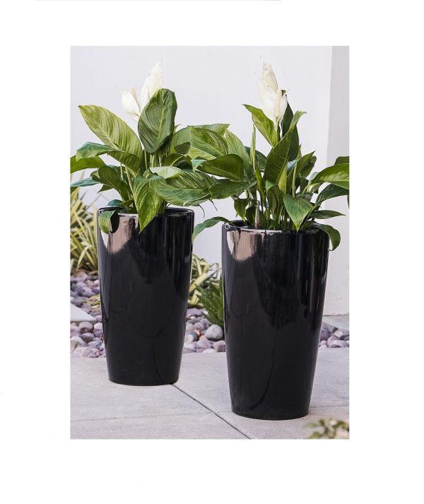 XBrand Black Round Tall Planter Pot (PL3448BK)