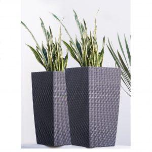 XBrand Black Rattan Planter Pot (PL3530BK)