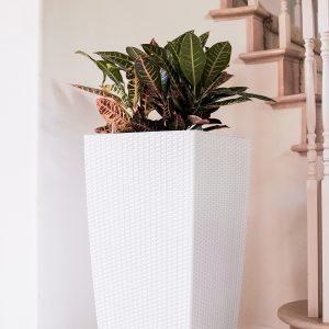 XBrand White Rattan Planter Pot (PL3530WT)
