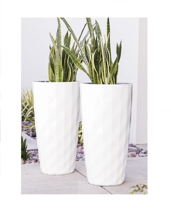 XBrand White Diamond Look Planter Pot (PL3554WT)