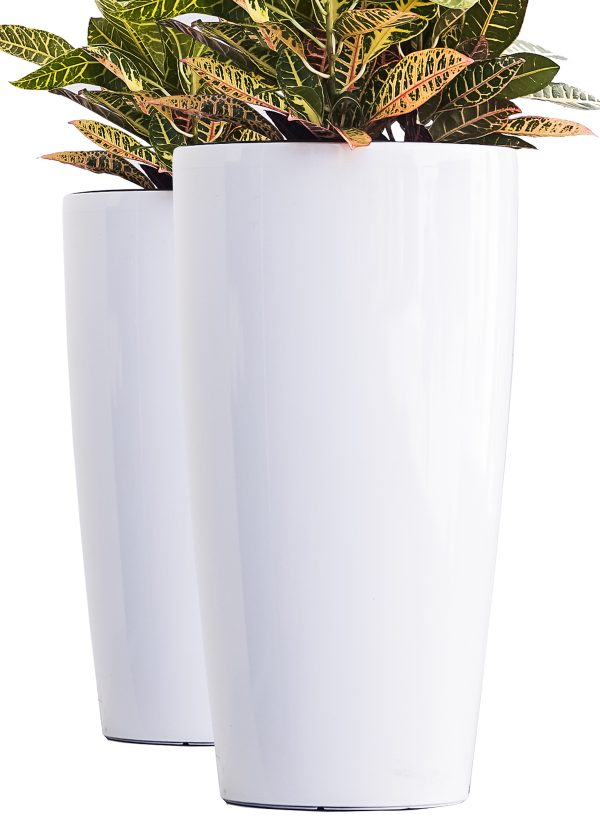 XBrand White Round Planter Pot (PL3585WT)