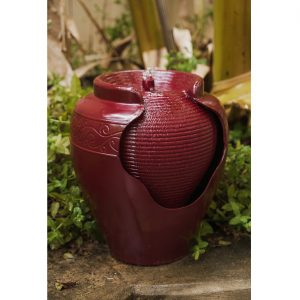 XBrand Red Round Vase Fountain (PLFT3394RD)